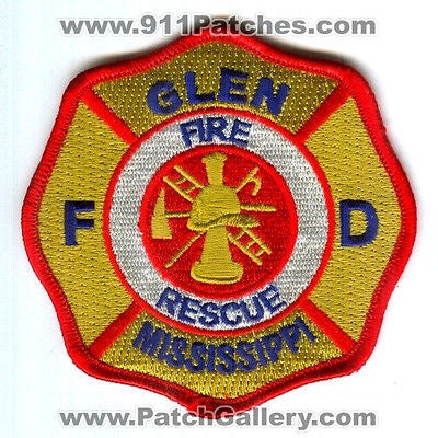 Glen Fire Rescue Department Dept FD EMS Patch Mississippi MS Patches NEW - SKU28 SKU80