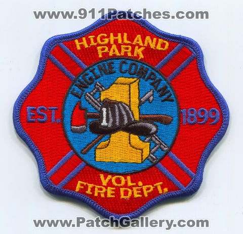 Highland Park Volunteer Fire Department Engine Company 1 Patch New Jersey NJ