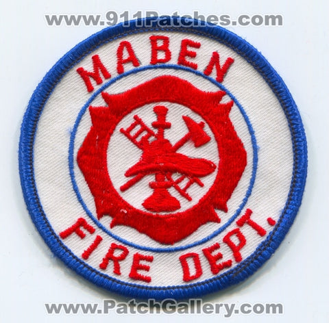 Maben Fire Department Patch Mississippi MS