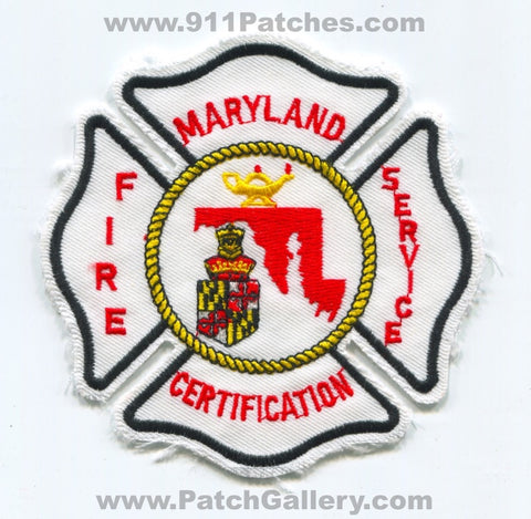 Maryland State Fire Service Certification Patch Maryland MD