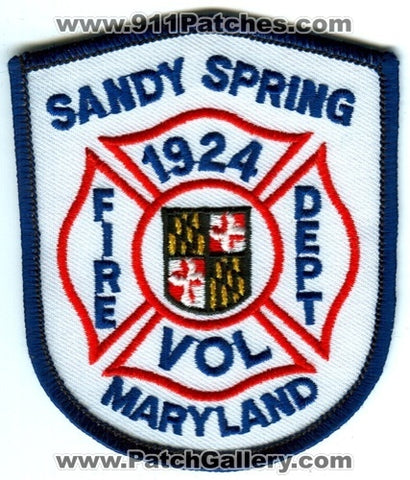 Sandy Spring Volunteer Fire Department Patch Maryland MD