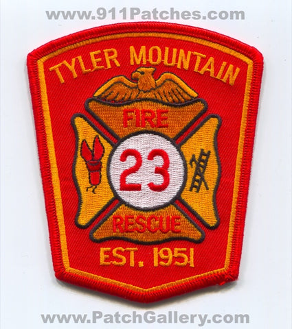 Tyler Mountain Fire Rescue Department 23 Patch West Virginia WV