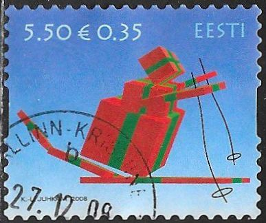 Estonia 608 Used - Christmas - Gift on Skis