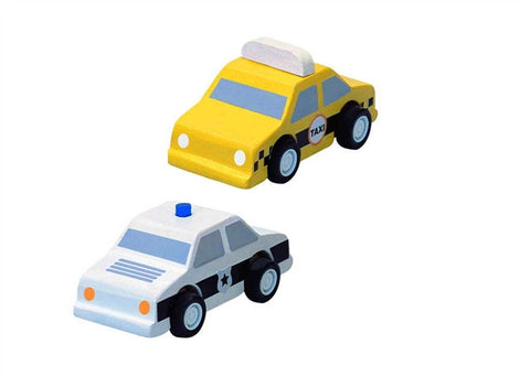 Plan Toys City Taxi and Police toy Car Play Set