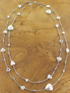 LONG SINGLE STRAND COTTON NECKLACE WITH HEARTS RG10/24