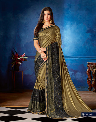 Gold  Fancy Net Party Wear Saree With  Black Blouse