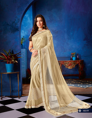 Beige Lycra Net Party Wear Saree With Blouse