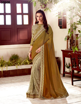 Brown Off-White Net Party Wear Saree With Off-White Blouse