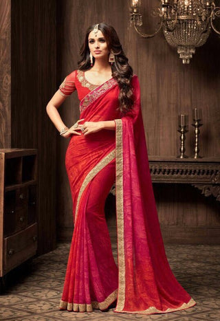 Pink Star Georgette Party Wear Saree With Pink Blouse