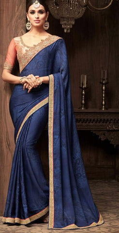 Blue Super Silk Georgette Party Wear Saree With Peach Blouse