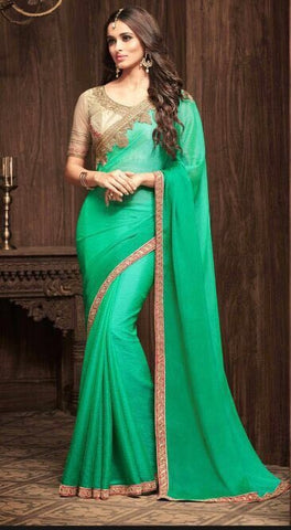 Green Sunshine Chiffon Party Wear Saree With Beige Blouse