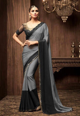 Grey And Black Monarch Silk Party Wear Saree With Black Blouse