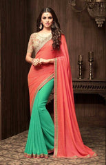 Green And Orange Sunshine Chiffon Party Wear Saree With Beige Blouse