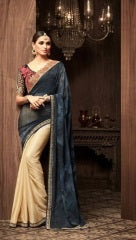 Beige And Grey Star Georgette Party Wear Saree With Grey Blouse