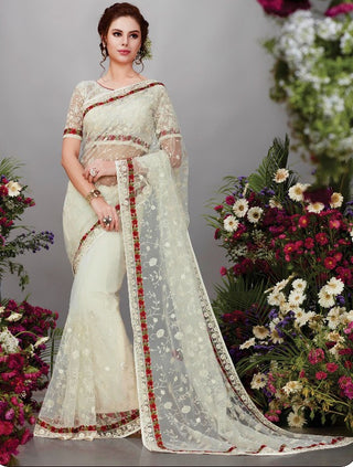Off White Net Party Wear Saree With Blouse