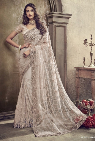 Cream Net Party Wear Saree With Cream Blouse