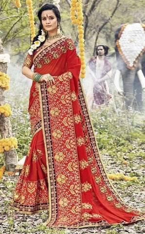 Red Georgette Partywear Saree With Red Blouse