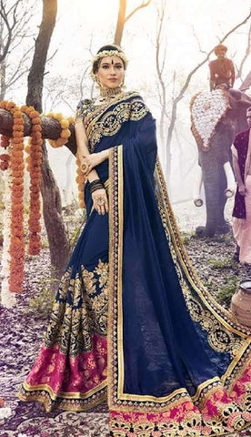 Blue Georgette Partywear Saree With Blue Blouse
