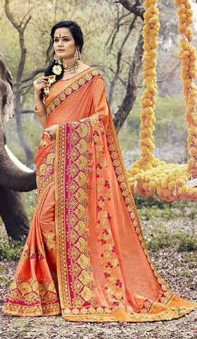 Orange Georgette Partywear Saree With Orange Blouse
