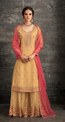 Yellow Georgette Sharara Salwar Suit With  Dupatta
