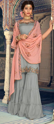 Grey Georgette Sharara Suit With  Dupatta