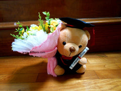 Graduation Bear with Flower   - BWF3569