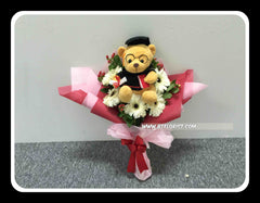 Graduation Bear Bouquet (Fresh Flower)  - BBQ1368