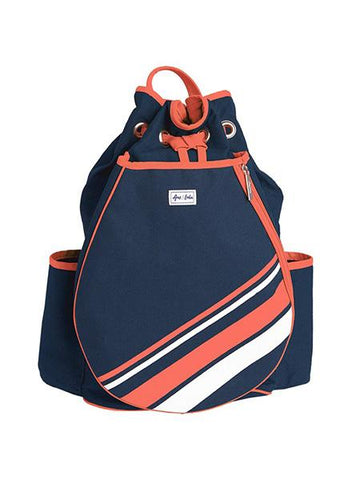 Bags - Ame And Lulu Coral And White Stripe Parker Tennis Backpack PTBP032