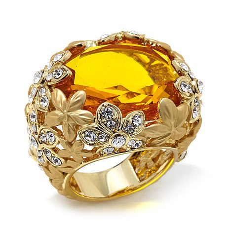 "Roberto by RFM ""Floral Luxury"" Faceted Stone Goldtone Matte Floral Ring"