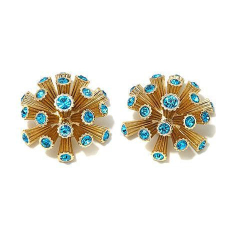 "Roberto by RFM ""Corallo"" Blue Crystal Goldtone Coral-Design Button Earrings"