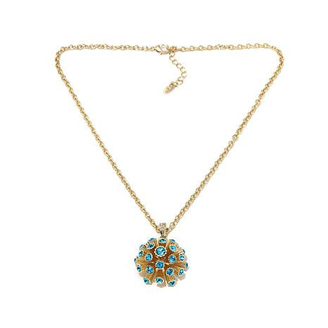 "Roberto by RFM ""Corallo"" Blue Crystal Goldtone Coral-Design Pendant with 22-1/4"" Chain"