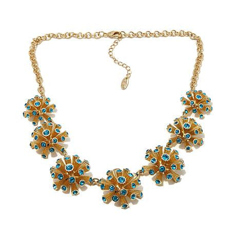 "Roberto by RFM ""Corallo"" Blue Crystal Goldtone Coral-Design 18"" Station Necklace"