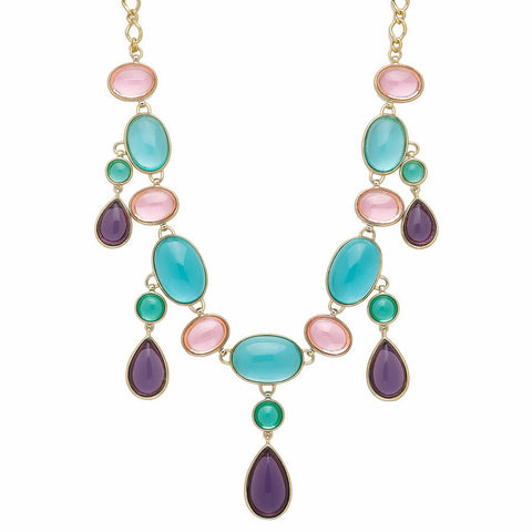 "Roberto by RFM ""Claudia"" Blue, Purple and Pink Cabochon Goldtone 18"" Dangle Necklace"