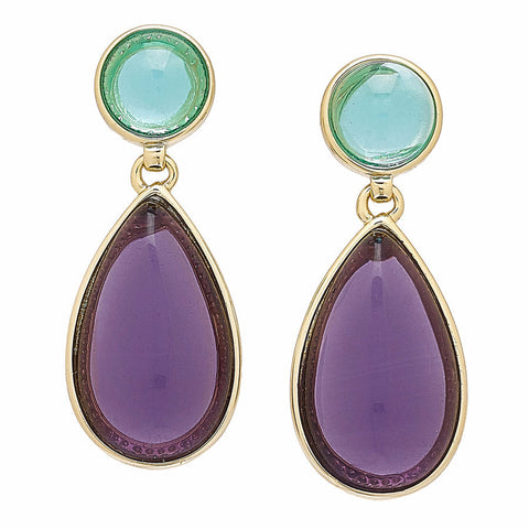 "Roberto by RFM ""Claudia"" Blue and Purple Cabochon Goldtone Drop Earrings"