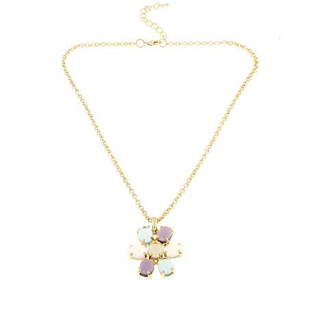 "Roberto by RFM ""Acquerello"" Multicolor Cabochon Gold tone Flower Pendant"