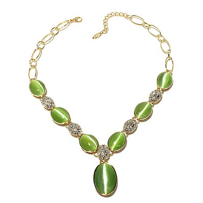 "Roberto by RFM ""Una Primavera"" Simulated Cat's Eye Cabachon Necklace"