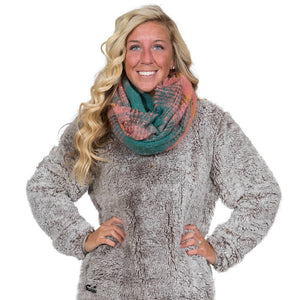 Simply Southern Teal and Blush Infinity Scarf