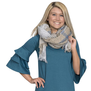 Simply Southern Grey And Tan Scarf