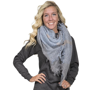 Simply Southern Light Blue And Grey Blanket Scarf