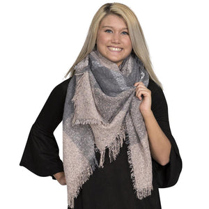 Simply Southern Light Pink And Grey Blanket Scarf