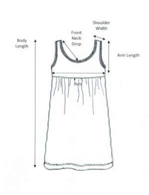 iCantoo Swirl Cotton Babydoll Dress Chart