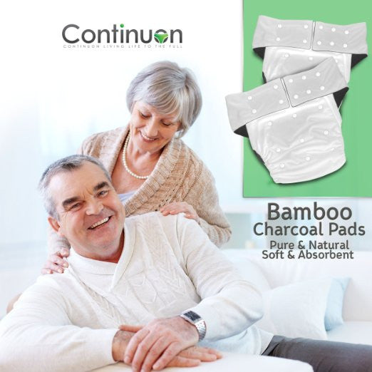 Reusable Adult Diapers for Urinary Incontinence with Washable Bamboo Charcoal Absorbent Pad (White) - Continuon Living