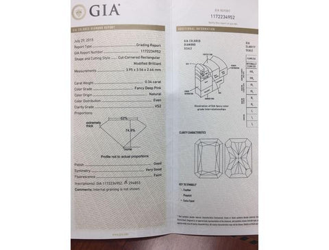 Argyle, Radant, 0.34 Carat,Fancy Deep Pink, VS2. GIA Diamond's Grading Report