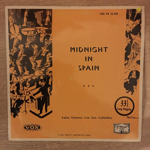 Luisa Linares Y Los Galindos ‎– Midnight In Spain -  Vinyl LP Record - Opened  - Very-Good- Quality (VG-)