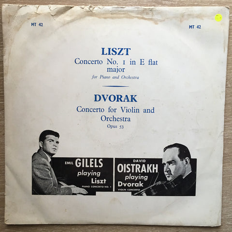 Dvorak / Liszt ‎– Concerto For Violin And Orchestra / Concerto No. 1 In E-Flat Major Emile Gilels/ David Oistrakh- Vinyl LP Record - Opened  - Very-Good- Quality (VG-)