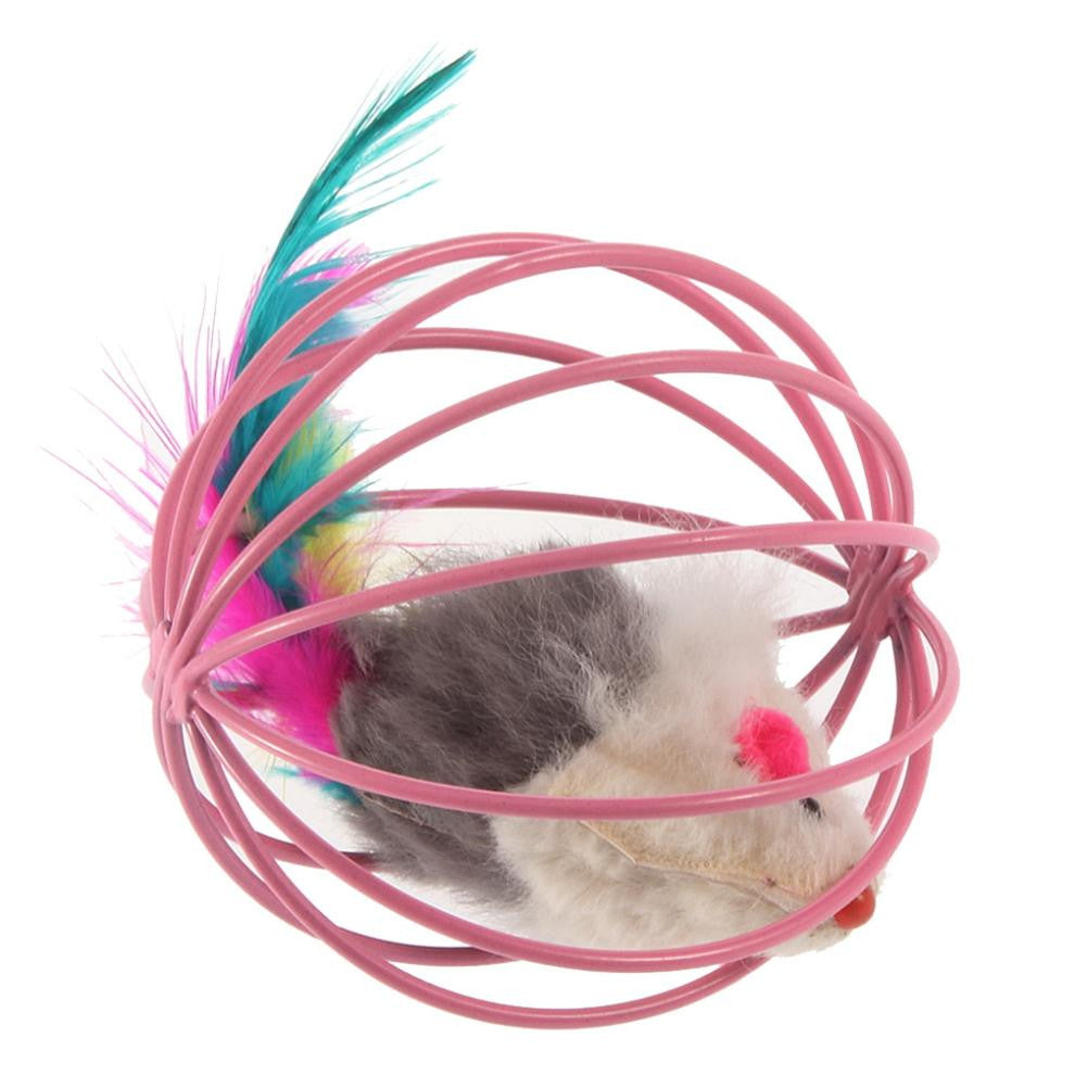 Pet Cat Kitten Fun Gift Play Playing Toys False Mouse in Rat Cage Ball
