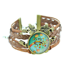 Newest Bracelet Bangles life tree Galaxy Cabochon vintage bronze butterfly Leather Bracelet For Women Men