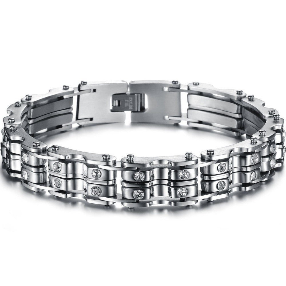 Fashion Stainless Steel Bracelet Mens Jewelry bike Chains with clear shinning crystal Titanium Bracelet