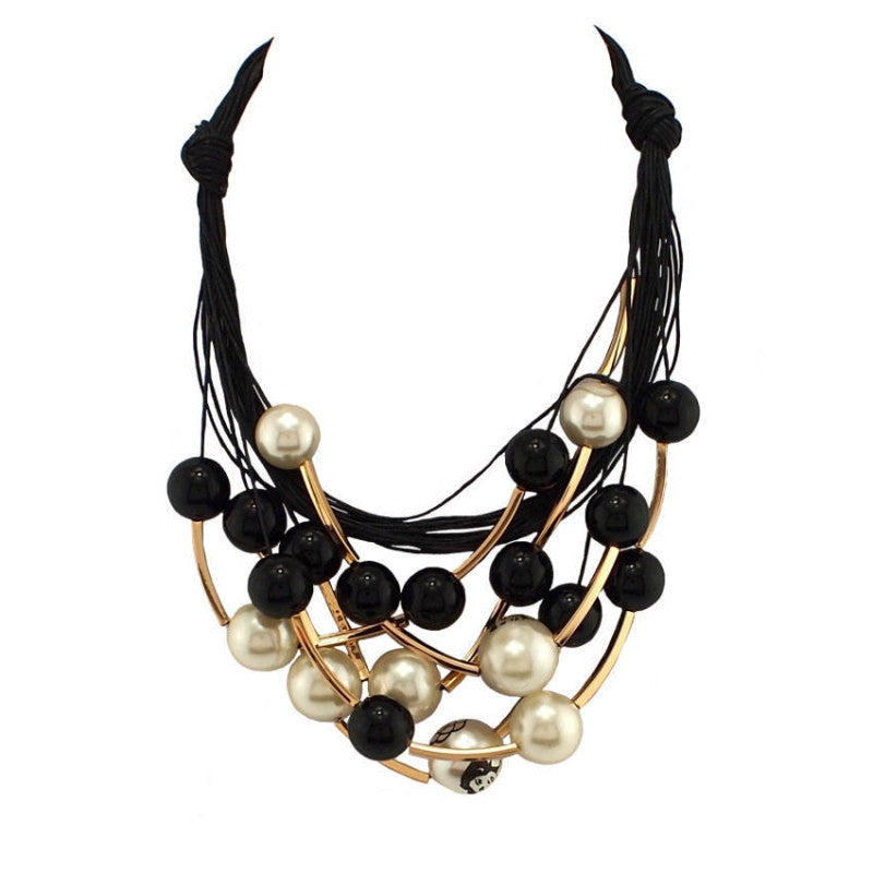 Maxi Jewelry imitation Pearl Necklace Black Rope Chain Bead Golden Tube Statement Collar Choker Necklace For Women Dress Collier
