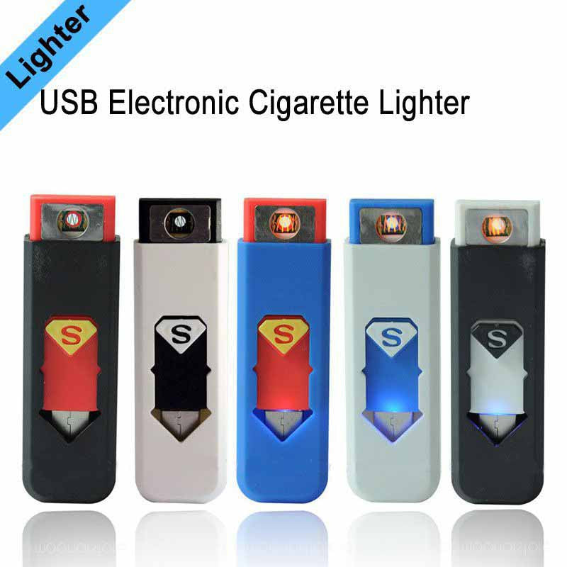 Portable Rechargeable USB Electronic Cigarette Lighters, Tobacco Cigar Flameless Windproof Lighter No Gas/Fuel